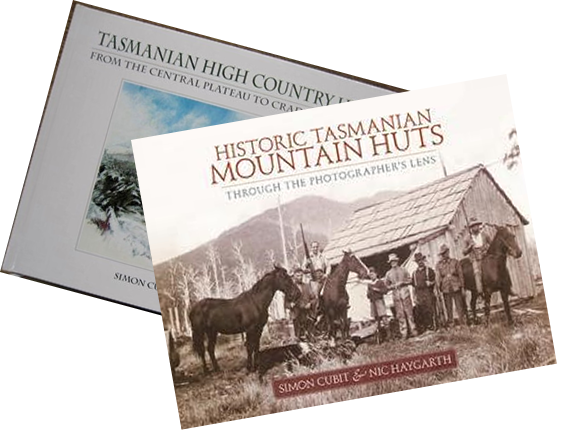Tasmanian High Country Huts and Historic Tasmanian Mountain Huts book jackets